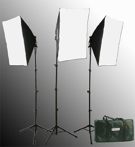 2400 Watt Softbox Lighting Kit Chromakey Green Screen Video Lighting Kit Three Softbox, 12 x 45watt Flourescent Bulb, 3 x lightstand by Fancier 9004S-3 | Studio lighting