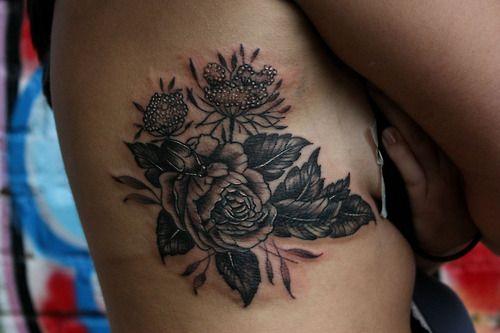 Black and white rose tattoo