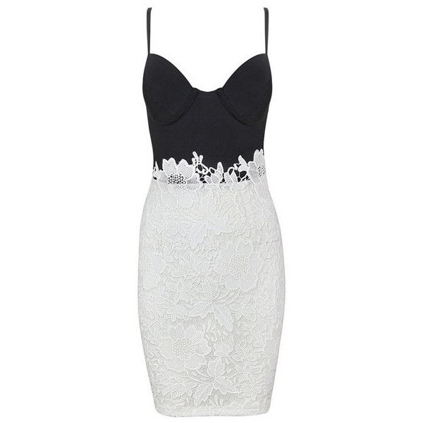 Black White Lace Party Bandage Dress ($69) ❤ liked on Polyvore featuring dresses