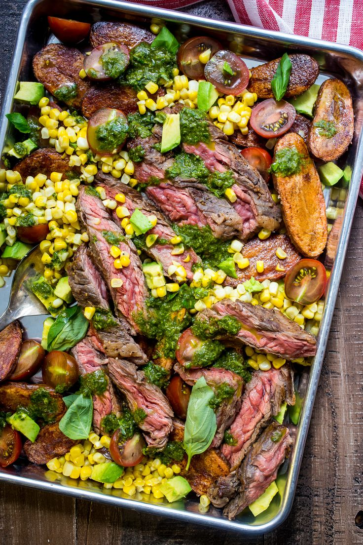 Steak and Potato Salad with Avocado Corn and Tomato from The Girl In The Little…
