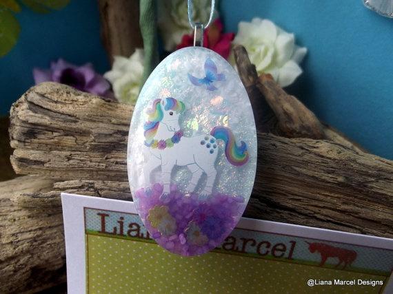 handmade resin unicorn scene necklace on ribbon by LianaMarcel, $15.00