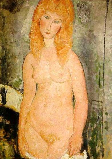 Обнаженная с рыжими волосами. Ню. Картины итальянского художника Амедео Модильяни