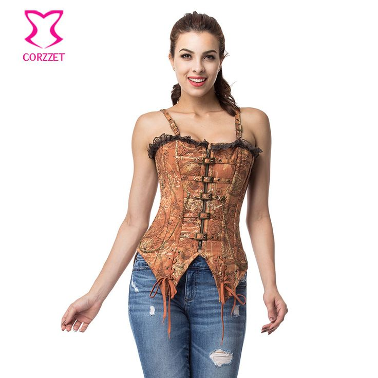 Corzzet Retro Brown Cotton Steampunk Armor Corsets And Bustiers Waist Trainer Steel Boned Swallowtail Straps Overbust Corset