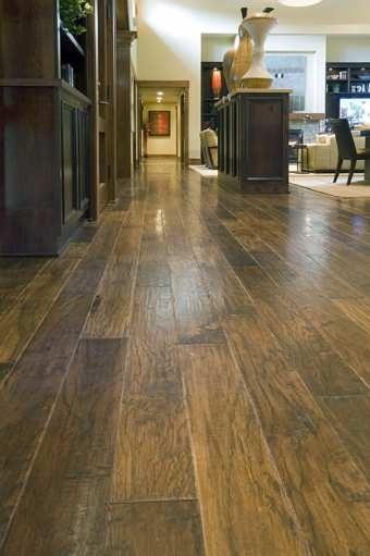 Hand-scraped Hickory Hardwood Floor love the floor