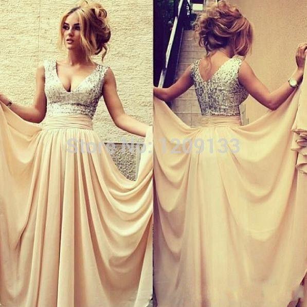 Ну вечеринку 2016 глубокий v-образный вырез вечерние платья с блестками и Pleat Line шифон длинные вечернее платье , чтобы ну вечеринку вечерние платья
