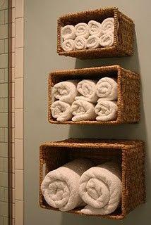 cute idea for limited bathroom storage!