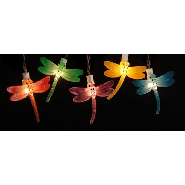 Sienna Set of 10 Battery Operated LED Dragonfly Garden Patio Umbrella Lights with Timer - multi-colored (Glass) #28376897