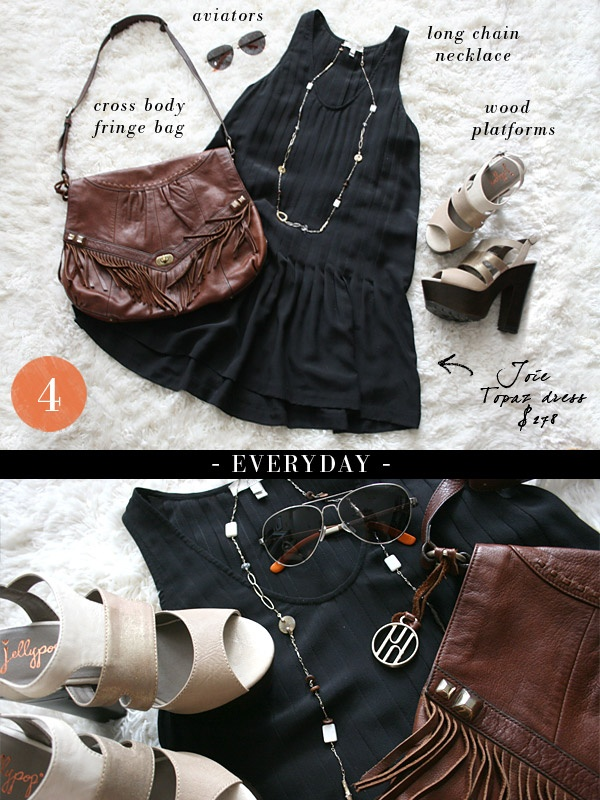 "small shop: Joie dress styled ""everyday"", TOMS aviators, Jellypop sandals, Hayden-Harnett fringe bag, long chain necklace"