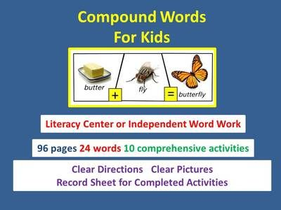 """Compound Word Book for Kids from JackAppsEducation on TeachersNotebook.com -  (97 pages)  - Use these comprehensive compound word activities in a literacy center or to accompany our Jack Apps Education ipad app, """"Build Compound Words."""""""