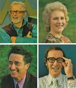 The How? team of presenters : Jack Hargreaves, Bunty James, Jon Miller, Fred Dinenage.