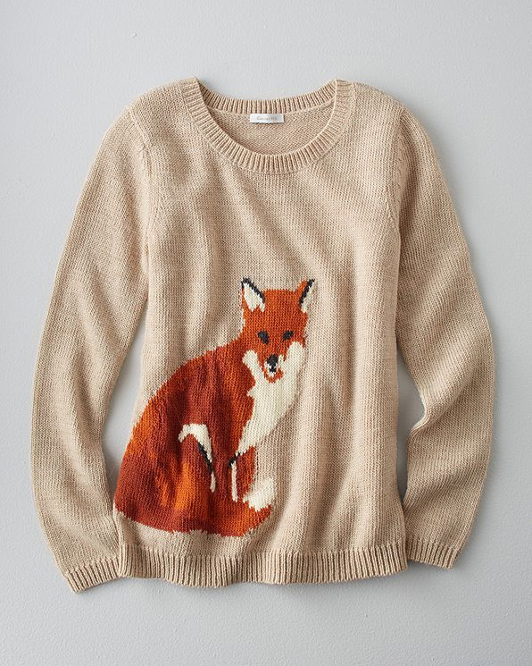Normally I don't like animals on my clothes but if its a fox or owl I'll probably love it :) Portobello Sweater - Garnet Hill