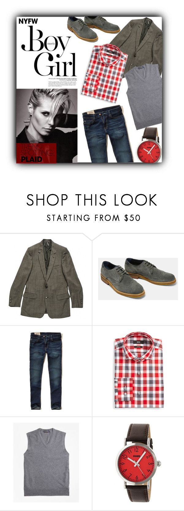 """""""NYFW : Plaid - Androgyny Style"""" by atikazahra on Polyvore featuring Boy Meets Girl, Christian Dior, Hollister Co., BOSS Hugo Boss, Brooks Brothers and Crayo"""