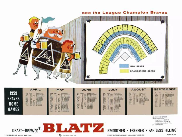 1959 Milwaukee Braves schedule from Blatz Beer.