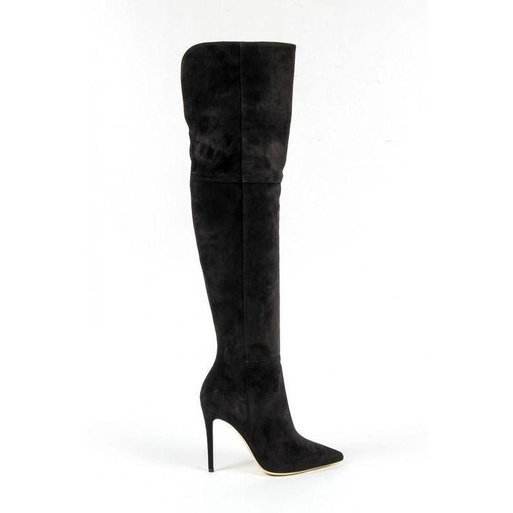 Black 38 IT - 8 US Versace 19.69 Abbigliamento Sportivo Srl Milano Italia Womens High Boot 3103075 CAMOSCIO NERO