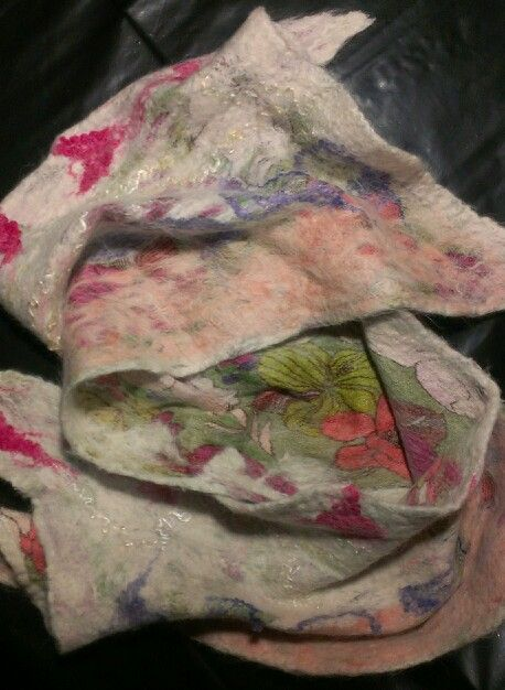 Nuno felt using my alpaca's fleece + silk and bamboo. By pocketdelight.