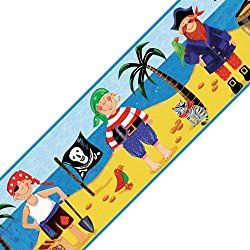 Treasure Hunt Pirates Prepasted Nursery Wallpaper Border