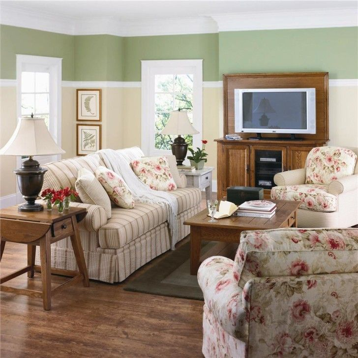 Perfect Color For A Small Room : Minimalist Green And Cream Paint Colors  For Small Living Rooms With Tv Wall Ideas
