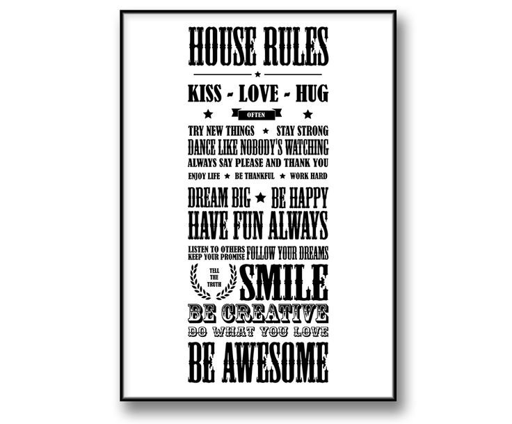 """House Rules - Husregler"" posters / canvastavla / prints"