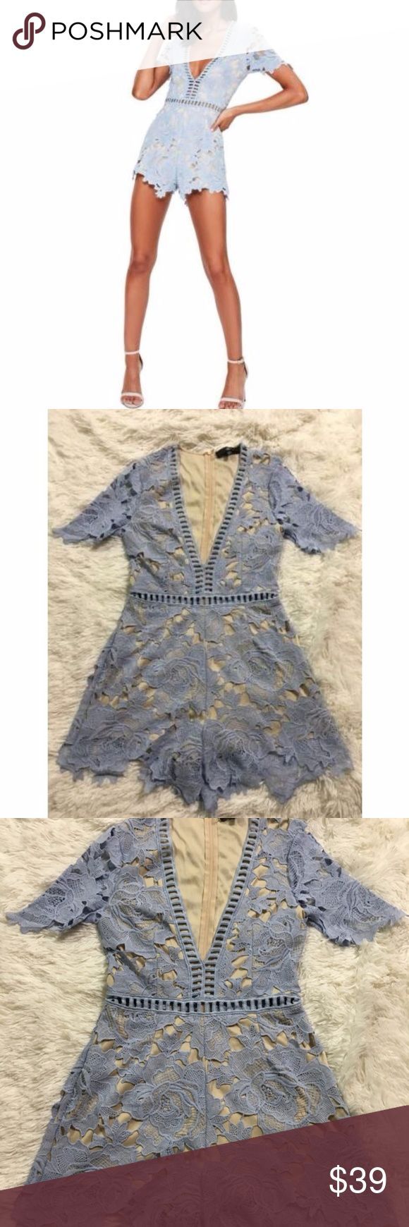 Missguided 6 Ladder Stitch Lace Romper Blue Croche Missguided 6 Ladder Stitch Lace Romper Blue Crochet Playsuit Deep V Shorts Set Total length 33 inches. Bust is 36 inches, unstretched Excellent condition Missguided Pants Jumpsuits & Rompers