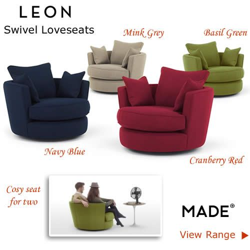 Wide Fabric Loveseats Round Swivel Chairs Green Red Blue
