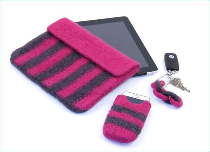 Tablet- und Smartphonetasche aus Strickfilz