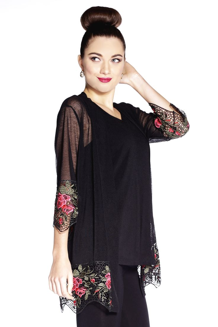 A sexy mesh kimono featuring an embroidered roses along the trim, open front and three-quarter length sleeves.  Content: 92% Polyester, 58% Spandex  Fit: Relaxed