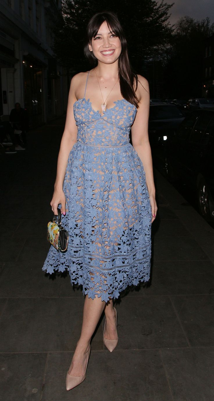 27 April Daisy Lowe was on hand to celebrate at the Olympics party. She wore a pale-blue dress by Self-portrait.   - HarpersBAZAAR.co.uk