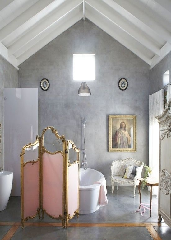 Tres Chic! French Finesse Warms Up Modern Bathroom!