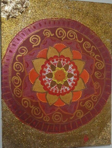 Mandala art.orange and gold