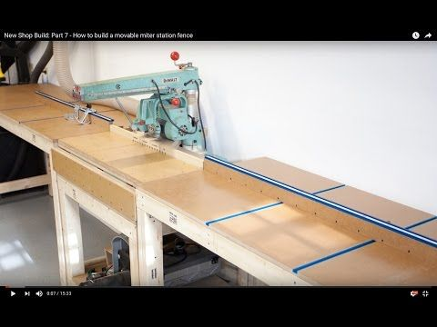 New Shop Build: Part 7 - How to build a movable miter station fence - YouTube