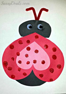 Heart Ladybug Valentines Day Craft For Kids - Sassy Dealz