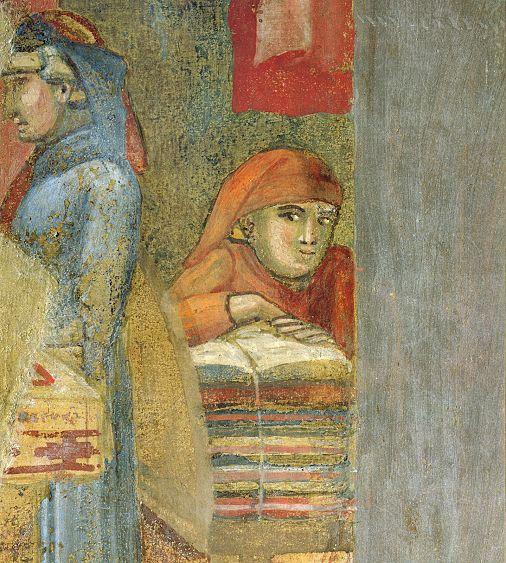 Ambrogio Lorenzetti - due mercanti (Gli Effetti del Buono Governo in città) - affresco - 1338-1339 - Siena - Palazzo Pubblico, Sala dei Nove o Sala della Pace