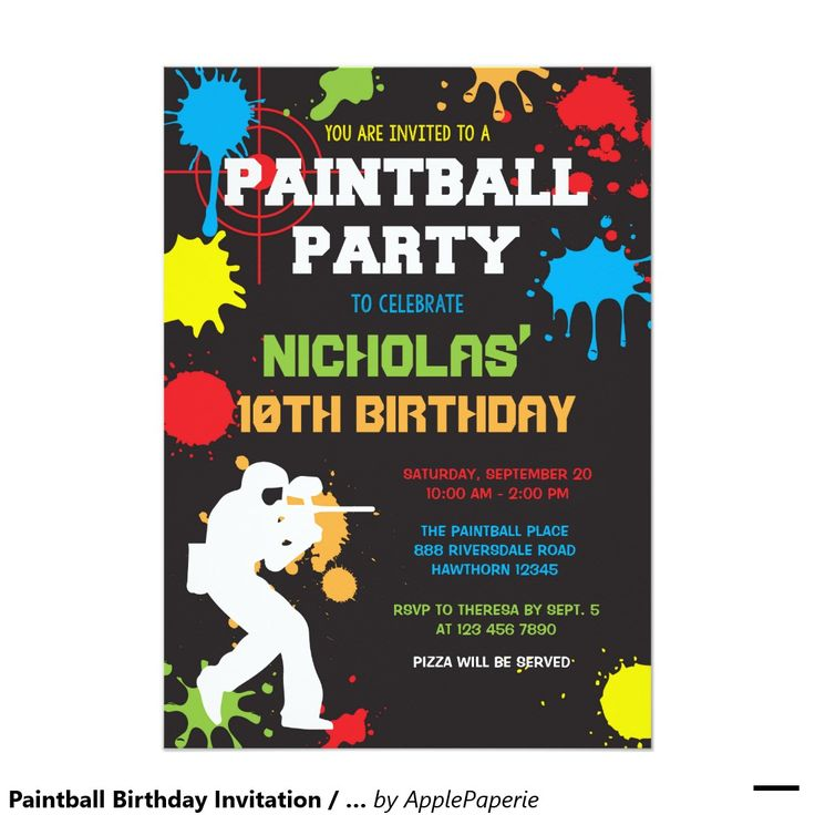 Paintball Birthday Invitation / Paintball Birthday / paintball birthday ideas / boys birthday ideas / paintball themed party / chalkboard, neon, paint splatter