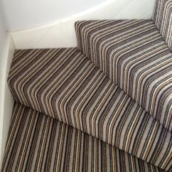Striped stair carpet on corner.