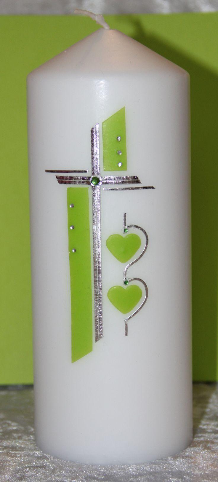Stumpenkerze als Hochzeitskerze in hellgrün Mehr Infos in meinem Blog unter http://klein-aberfein.blogspot.co.at