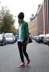 red converse, emerald green