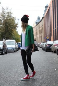red converse, emerald green