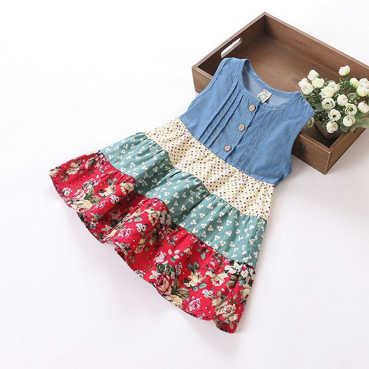 2014 Summer  Girl Dress Blue Dot  Denim Polka Dot Floral Stitching Tank Party Casual Party Children/Kids Clothes SZ 2-7 $13.99 - 14.99