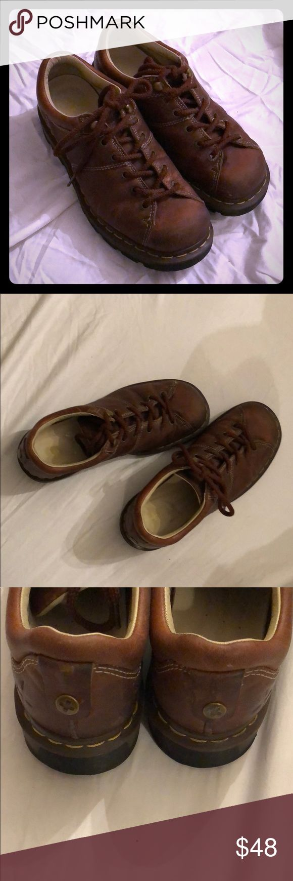 Men's Doc. Martens Brown leather docs. In good shape. Shows signs Of wear, but they have tons of life let. Look at the bottoms. Doc. Martens Shoes Loafers & Slip-Ons