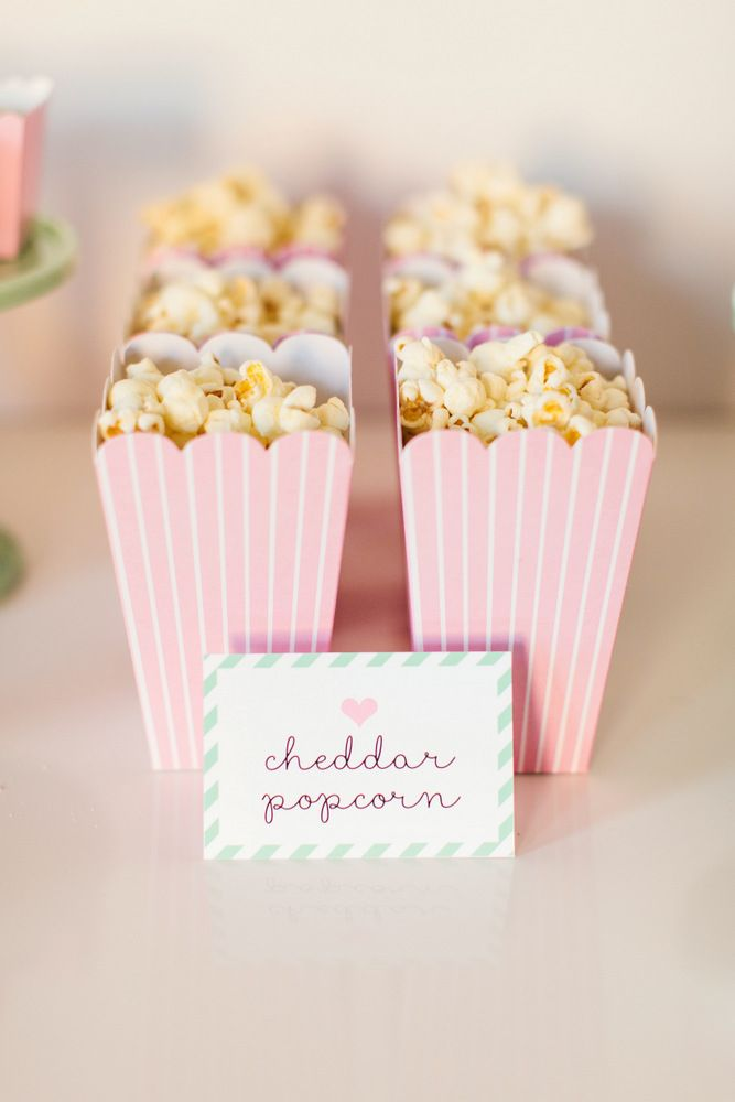 Popcorn in pink popcorn boxes // Ballerina Party Ideas