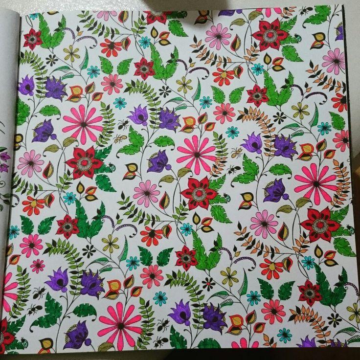 Johanna Basford Secret Garden Esrarengiz bahçe boyama kitabı Faber Castell fun bucket progress flowers çiçekler