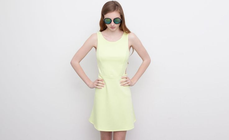 Pull&Bear - woman - dresses - yellow cropped dress - pale lime - 05392380-V2015