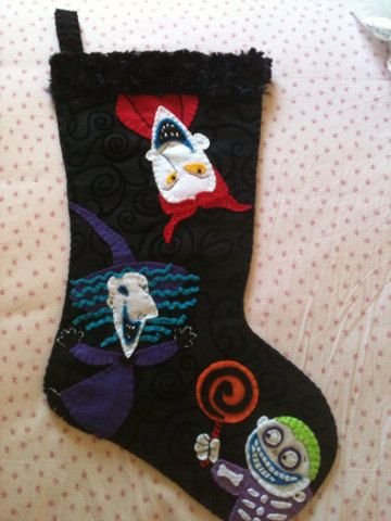 nightmare before christmas lock shock and barrel inspired christmas stocking hand embroidered felt
