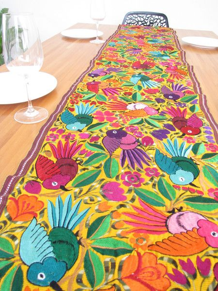 Embroidered Birds Table Runner