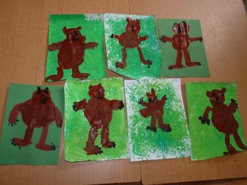 schilderen met stro, gras en daarna een beer! #Rikkieklas #themawegaanopberenjacht