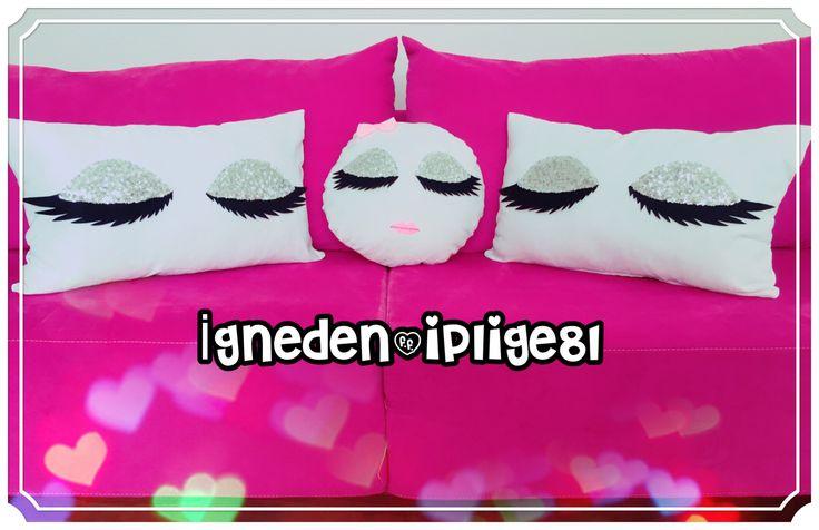 Kirpikli yastıklar,kırlent,pillow