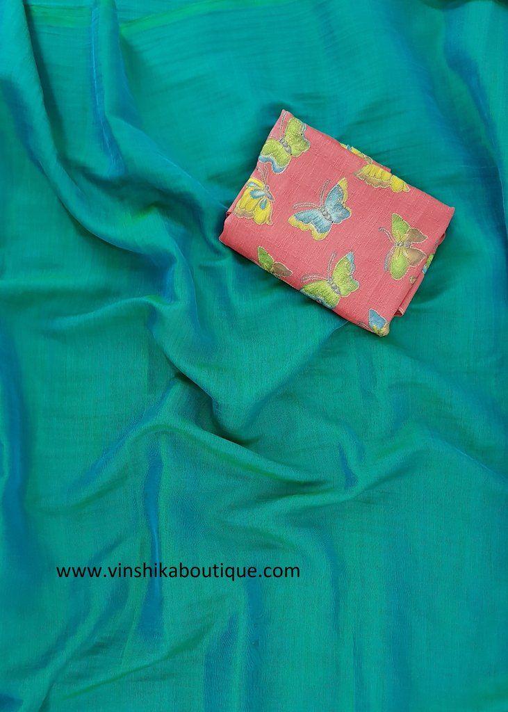 3393b8bc04141 Peacock blue Jute silk plain saree with butterfly raw silk designer blouse