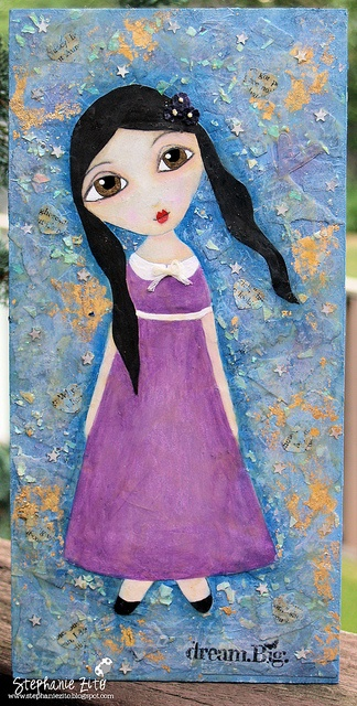 Dream Big mixed media wooden canvas inspired by Suzy Blu's La Petite Dolls workshop.