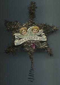 1880-1900-alt-Weihnachtsschmuck-Christbaumschmuck-Engel-Litho-Tinsel-Baumspitze