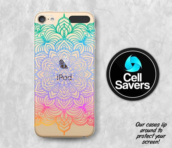 Mandala Clear iPod 5 Case iPod 6 Case iPod 5th Generation iPod 6th Generation Rubber Case Gen Clear Case Rainbow Mandala Henna Line Art Cute